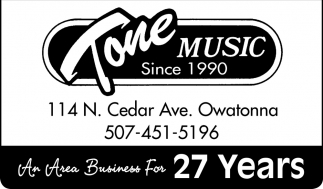 An Area Business For 27 Years, Tone Music, Owatonna, MN