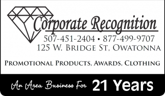 An Area Business For 21 Years, Corporate Recognition