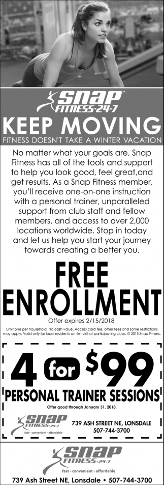 FREE Enrollment, Snap Fitness 24-7, Waseca, MN
