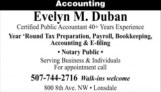 Certified Public Accountant 40+ Years Experience, Evelyn M. Duban