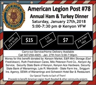 Annual Ham & Turkey Dinner, American Legion Post 78 - Kenyon, Kenyon, MN