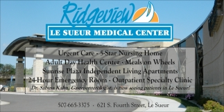Urgent Care, 5 Star Nursing Home, Adult Day Health, Ridgeview Le Sueur Medical Center, Le Sueur, MN