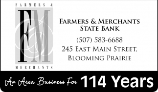 An Area Business For 114 Years, Farmers & Merchants State Bank, Blooming Prairie, MN