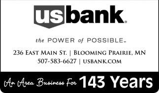 An Area Business For 143 Years, U.S. Bank - Blooming Prairie