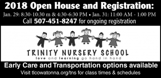 2018 Open House and Registration, Trinity Nursery School, Owatonna, MN