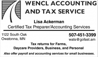 Lisa Ackerman Certified Tax Prepareraccounting Services Wencl