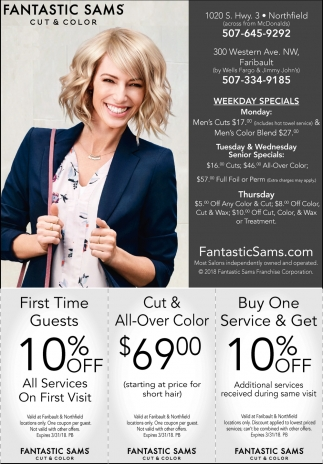 Coupon, Fantastic Sams Cut & Color - Northfield, Faribault, Northfield, MN