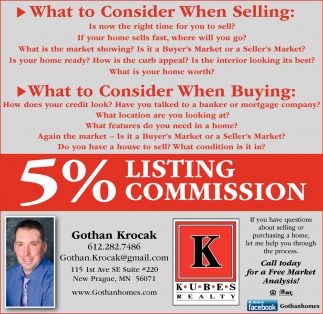 5% Listing Commission, Gothan Krocak, New Prague, MN