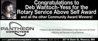 Congratulations to Deb Wantoch-Yess, Pantheon Computers, Waseca, MN