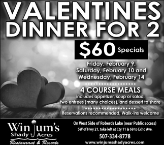 Valentines Dinner for 2, Winjum's Shady Acres, Faribault, MN
