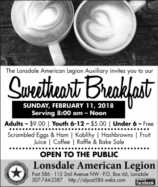 Sweetheart Breakfast, Lonsdale American Legion Post 586, Lonsdale, MN