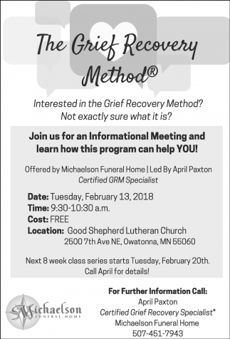 The Grief Recovery Method, Michaelson Funeral Home, Owatonna, MN