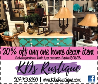 20% off any home decor item, KDs Rustique, Owatonna, MN
