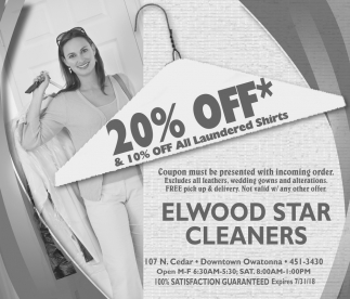 20% off* & 10% off all laundered shirts, Elwood Star Cleaners, Owatonna, MN