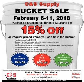 Bucket Sale 15% off