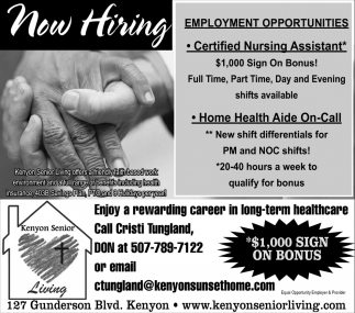Now Hiring, Kenyon Senior Living, Kenyon, MN