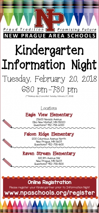 Kindergarten Information Night, New Prague Area Schools, New Prague, MN