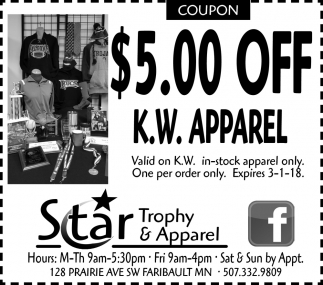$5.00 off K.W. Apparel, Star Trophy & Apparel, Faribault, MN