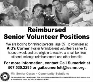 Reimbursed Senior Volunteer Positions