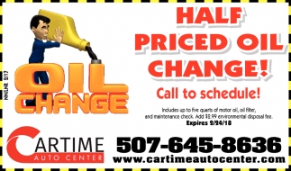 Half Priced Oil Change!