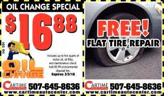 Free Flat Tire Repair, Car Time Auto Center, Dundas, MN