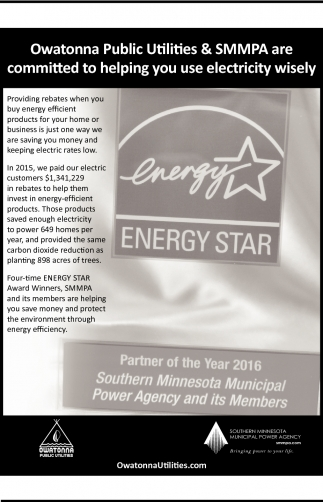 Owatonna Public Utilities & SMMPA are committed to helping you use electricity wisely