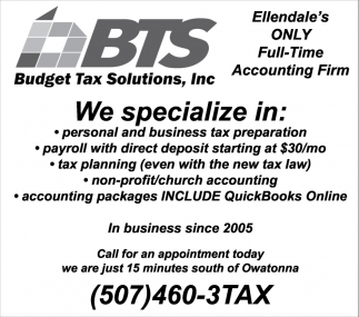 Ellendale's only full-time Accounting Firm, Budget Tax Solutions, Inc