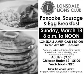 Pancake, Sausage & Egg Breakfast, Lonsdale Lions, Lonsdale, MN