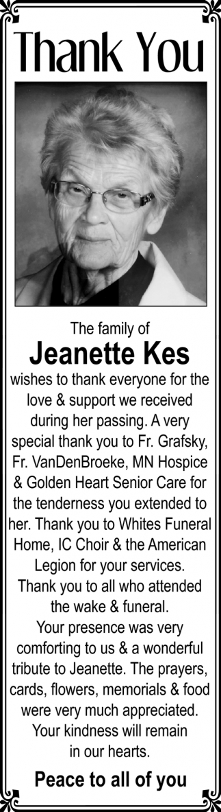 Jeanette Kes, In Memory -  Lonsdale Area News Review, Lonsdale, MN