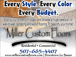 Carpeting and wood flooring, Miller Custom Floors, Le Sueur, MN