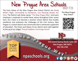 Top Work Places 2017, New Prague Area Schools, New Prague, MN