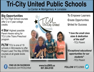 Big Opportunities, Tri-City United Public Schools, Montgomery, MN