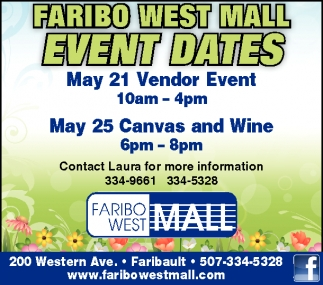 FIRIBO WEST MALL EVENT DATES