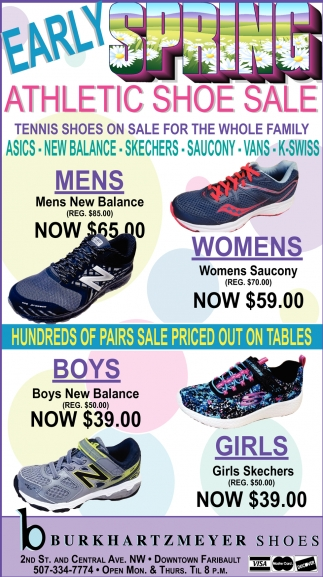 Spring Athletic Show Sale, Burkhartzmeyer Shoes, Faribault, MN