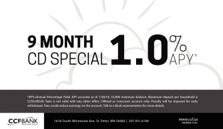 9 Month CD Special 1.0% APY.