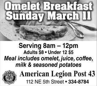 Omelet Breakfast Sunday March 11