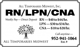 RN / LPN / CNA, All Temporaries Midwest, Inc, Waseca, MN