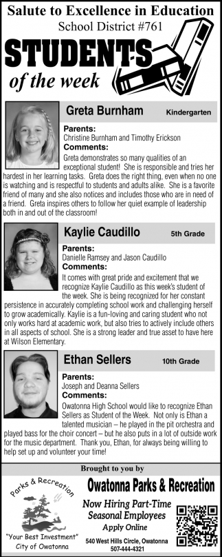 Students of the week, Owatonna Parks & Recreation, Owatonna, MN
