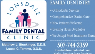 Family Dentistry, Lonsdale Family Dental Clinic, Lonsdale, MN