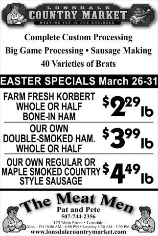 Easter Specials, Lonsdale Country Market, Lonsdale, MN