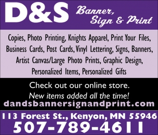 Copies, Printing, Cards, Signs, Banners, D&S Banner Sign & Print, Kenyon, MN