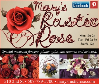 Special occasion flowers, plants, gifts, Mary's Rustic Rose, Kenyon, MN