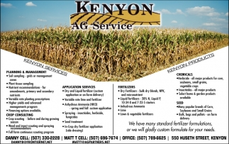 Services & Products, Kenyon Ag Service, Kenyon, MN