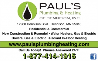 Construction, Remodel, Water Heaters, Gas, Electric, Paul's Plumbing & Heating of Dennison, Inc, Dennison, MN