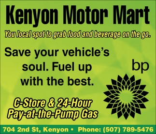 You local spot to grab food and beverage on the go, Kenyon Motor Mart