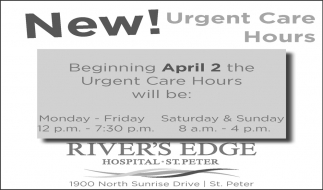 New Urgent Care Hours