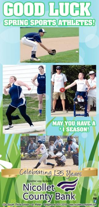Good Luck Spring Sports Athletes!