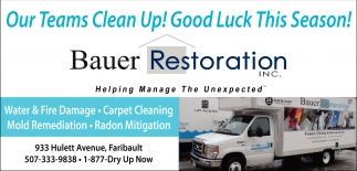 Good Luck This Season!, Bauer Restoration, Faribault, MN