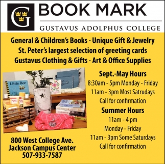 Book Mark Gustavus Adolphus College St Peter Mn