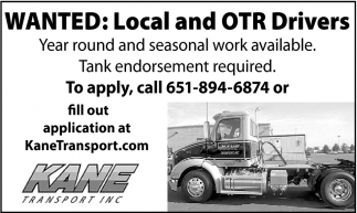 Local and OTR Drivers, Kane Transport, Inc., Inver Grove Heights, MN